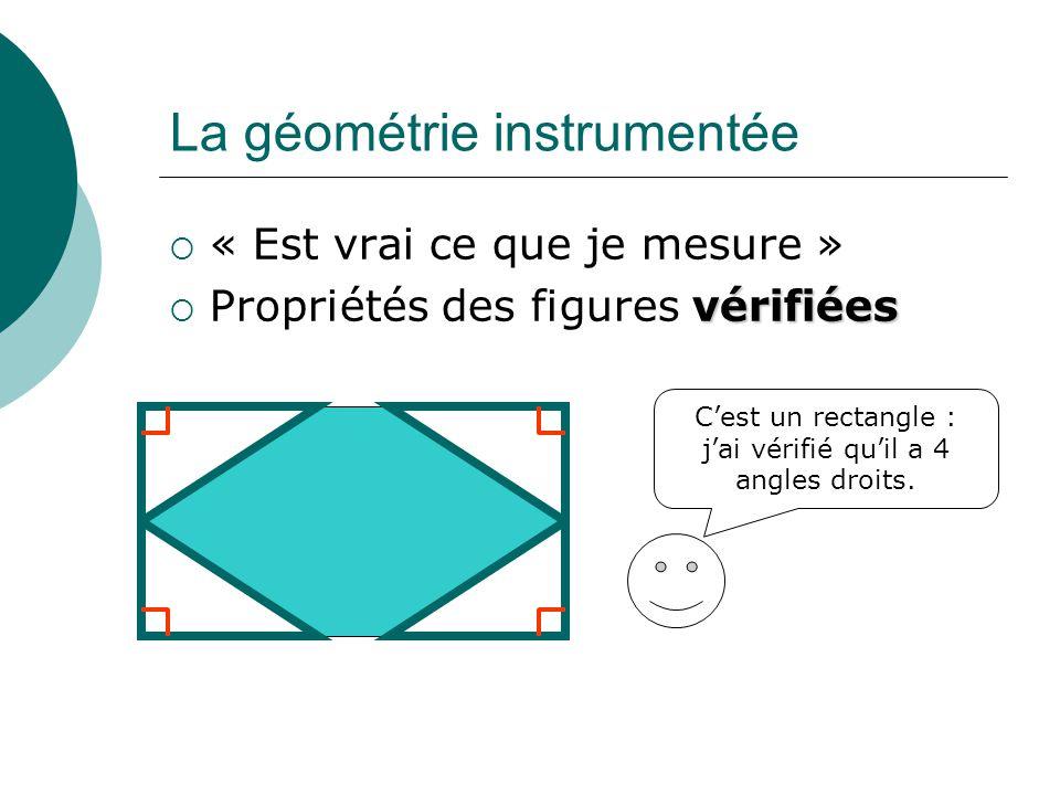La géométrie instrumentée  « Est vrai ce que je mesure » vérifiées  Propriétés des figures vérifiées C'est un rectangle : j'ai vérifié qu'il a 4 ang