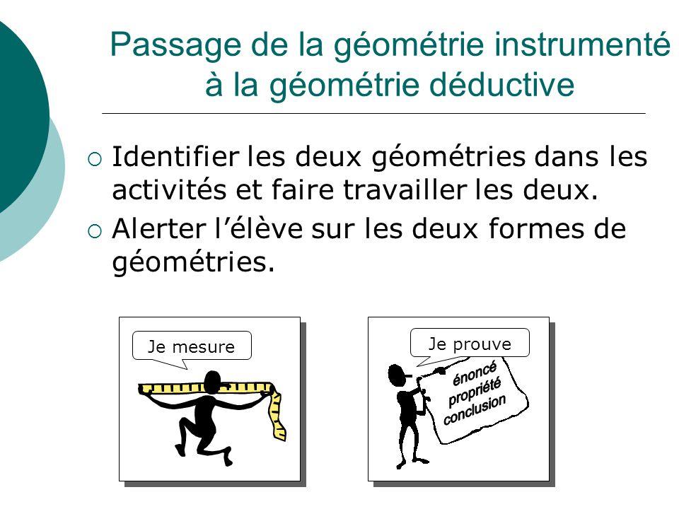 Passage de la géométrie instrumenté à la géométrie déductive  Identifier les deux géométries dans les activités et faire travailler les deux.  Alert