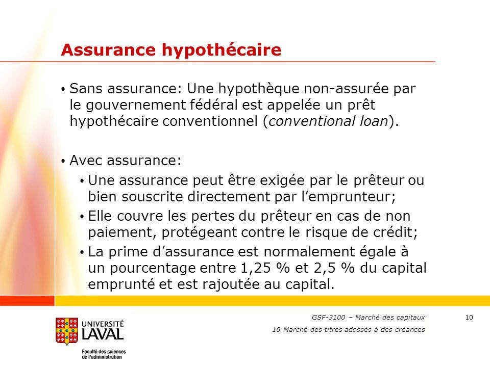 www.ulaval.ca 10 Assurance hypothécaire Sans assurance: Une hypothèque non-assurée par le gouvernement fédéral est appelée un prêt hypothécaire conven