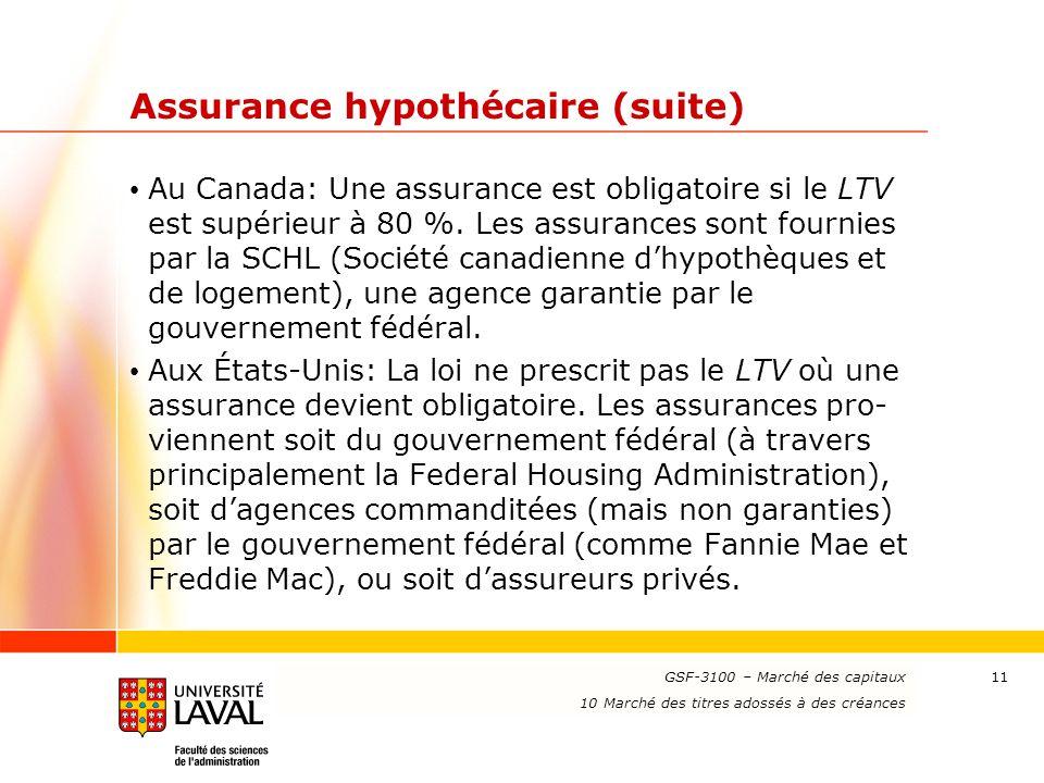 www.ulaval.ca 11 Assurance hypothécaire (suite) Au Canada: Une assurance est obligatoire si le LTV est supérieur à 80 %. Les assurances sont fournies