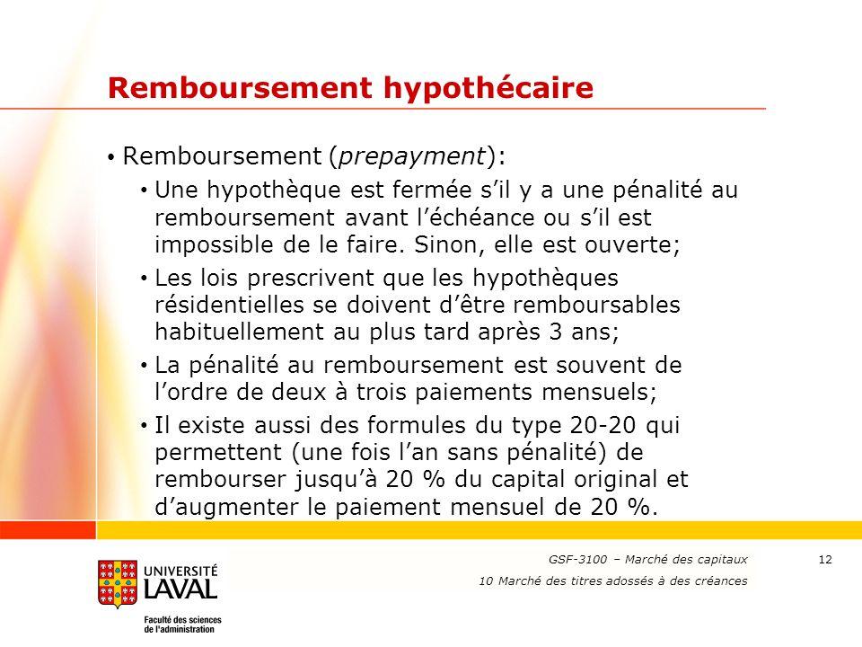 www.ulaval.ca 12 Remboursement hypothécaire Remboursement (prepayment): Une hypothèque est fermée s'il y a une pénalité au remboursement avant l'échéa