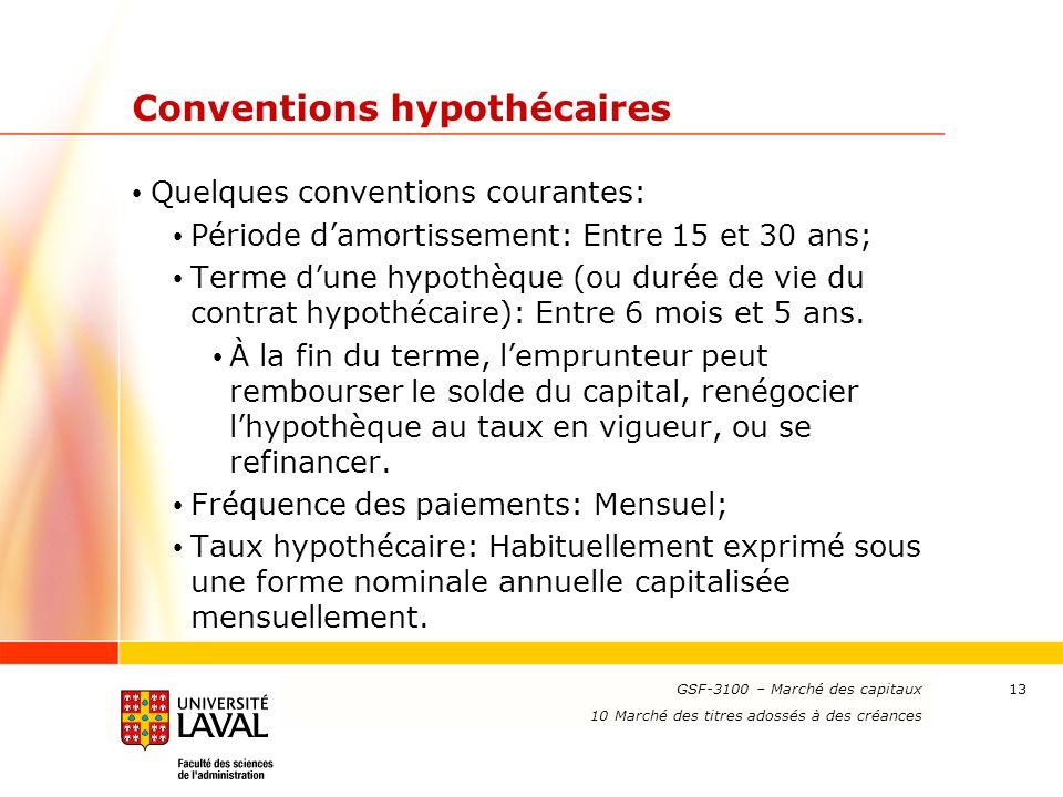 www.ulaval.ca 13 Conventions hypothécaires Quelques conventions courantes: Période d'amortissement: Entre 15 et 30 ans; Terme d'une hypothèque (ou dur