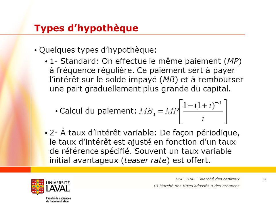 www.ulaval.ca 14 Types d'hypothèque Quelques types d'hypothèque: 1- Standard: On effectue le même paiement (MP) à fréquence régulière. Ce paiement ser