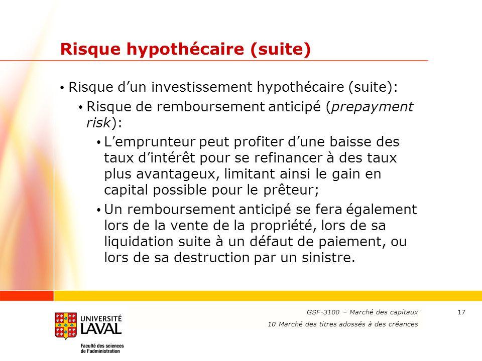 www.ulaval.ca 17 Risque hypothécaire (suite) Risque d'un investissement hypothécaire (suite): Risque de remboursement anticipé (prepayment risk): L'em