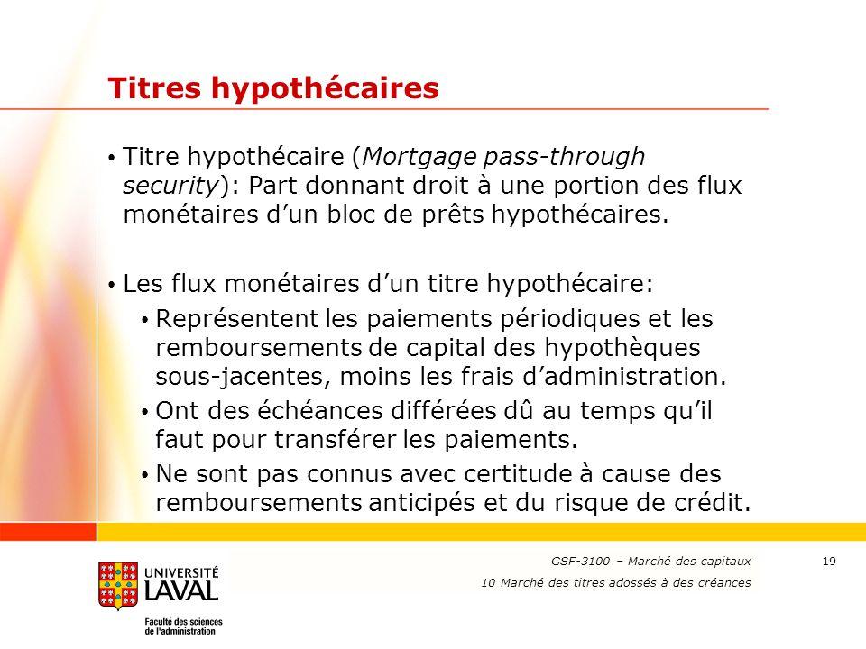 www.ulaval.ca 19 Titres hypothécaires Titre hypothécaire (Mortgage pass-through security): Part donnant droit à une portion des flux monétaires d'un b
