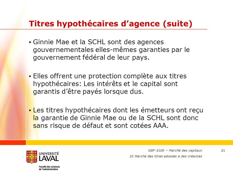 www.ulaval.ca 21 Titres hypothécaires d'agence (suite) Ginnie Mae et la SCHL sont des agences gouvernementales elles-mêmes garanties par le gouverneme