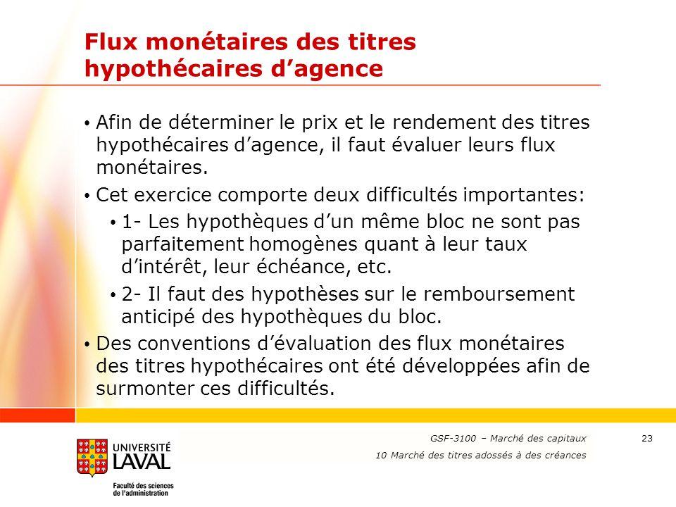 www.ulaval.ca 23 Flux monétaires des titres hypothécaires d'agence Afin de déterminer le prix et le rendement des titres hypothécaires d'agence, il fa