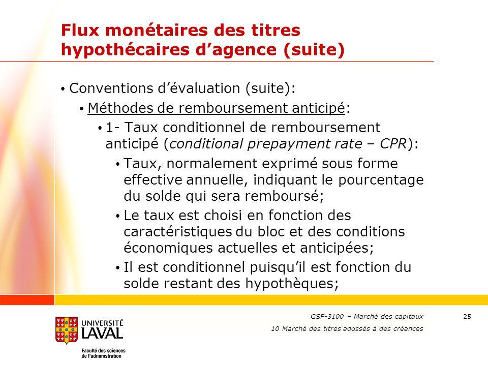 www.ulaval.ca 25 Flux monétaires des titres hypothécaires d'agence (suite) Conventions d'évaluation (suite): Méthodes de remboursement anticipé: 1- Ta