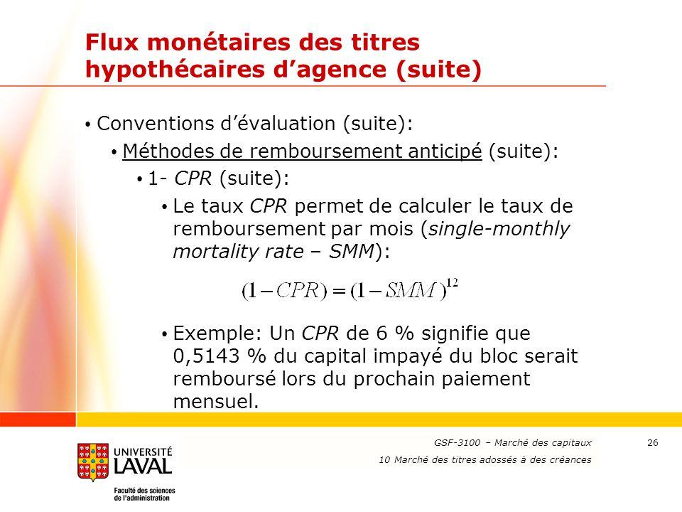 www.ulaval.ca 26 Flux monétaires des titres hypothécaires d'agence (suite) Conventions d'évaluation (suite): Méthodes de remboursement anticipé (suite