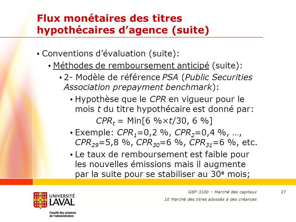 www.ulaval.ca 27 Flux monétaires des titres hypothécaires d'agence (suite) Conventions d'évaluation (suite): Méthodes de remboursement anticipé (suite