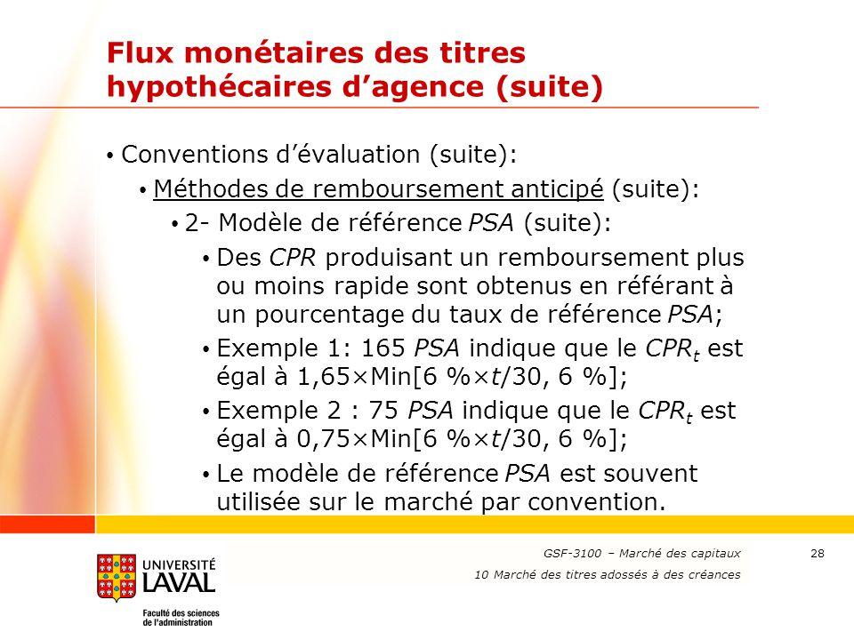 www.ulaval.ca 28 Flux monétaires des titres hypothécaires d'agence (suite) Conventions d'évaluation (suite): Méthodes de remboursement anticipé (suite