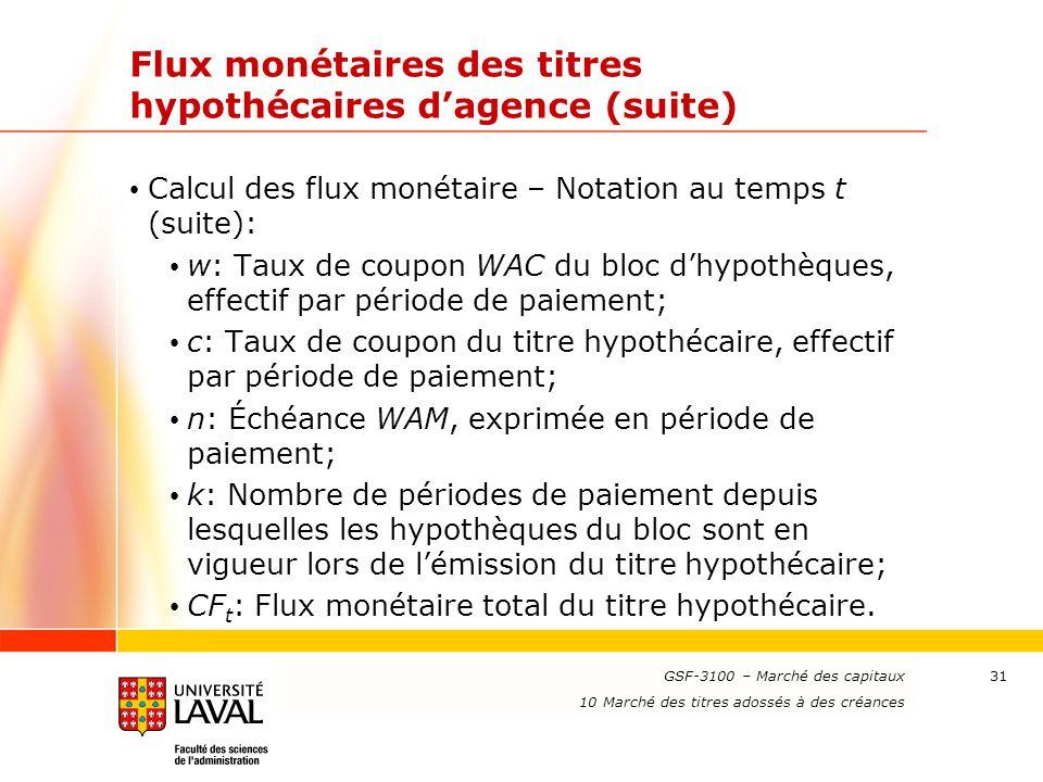 www.ulaval.ca 31 Flux monétaires des titres hypothécaires d'agence (suite) Calcul des flux monétaire – Notation au temps t (suite): w: Taux de coupon