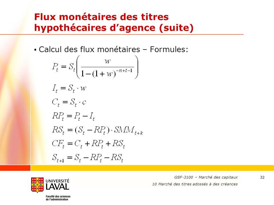 www.ulaval.ca 32 Flux monétaires des titres hypothécaires d'agence (suite) Calcul des flux monétaires – Formules: GSF-3100 – Marché des capitaux 10 Ma
