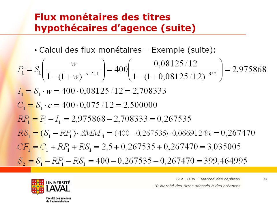 www.ulaval.ca 34 Flux monétaires des titres hypothécaires d'agence (suite) Calcul des flux monétaires – Exemple (suite): GSF-3100 – Marché des capitau