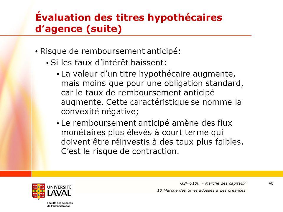 www.ulaval.ca 40 Évaluation des titres hypothécaires d'agence (suite) Risque de remboursement anticipé: Si les taux d'intérêt baissent: La valeur d'un
