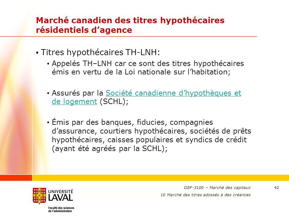 www.ulaval.ca 42 Marché canadien des titres hypothécaires résidentiels d'agence Titres hypothécaires TH-LNH: Appelés TH–LNH car ce sont des titres hyp