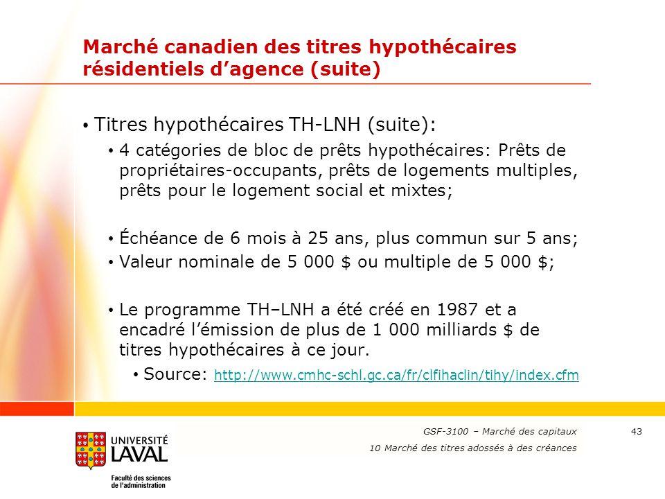 www.ulaval.ca 43 Marché canadien des titres hypothécaires résidentiels d'agence (suite) Titres hypothécaires TH-LNH (suite): 4 catégories de bloc de p