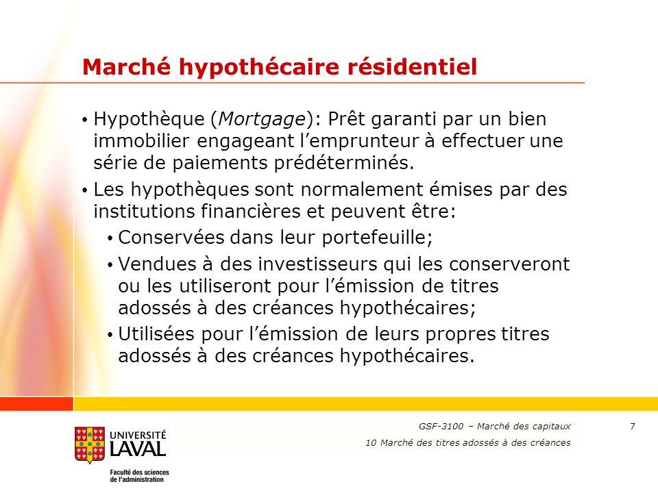 www.ulaval.ca 28 Flux monétaires des titres hypothécaires d'agence (suite) Conventions d'évaluation (suite): Méthodes de remboursement anticipé (suite): 2- Modèle de référence PSA (suite): Des CPR produisant un remboursement plus ou moins rapide sont obtenus en référant à un pourcentage du taux de référence PSA; Exemple 1: 165 PSA indique que le CPR t est égal à 1,65×Min[6 %×t/30, 6 %]; Exemple 2 : 75 PSA indique que le CPR t est égal à 0,75×Min[6 %×t/30, 6 %]; Le modèle de référence PSA est souvent utilisée sur le marché par convention.