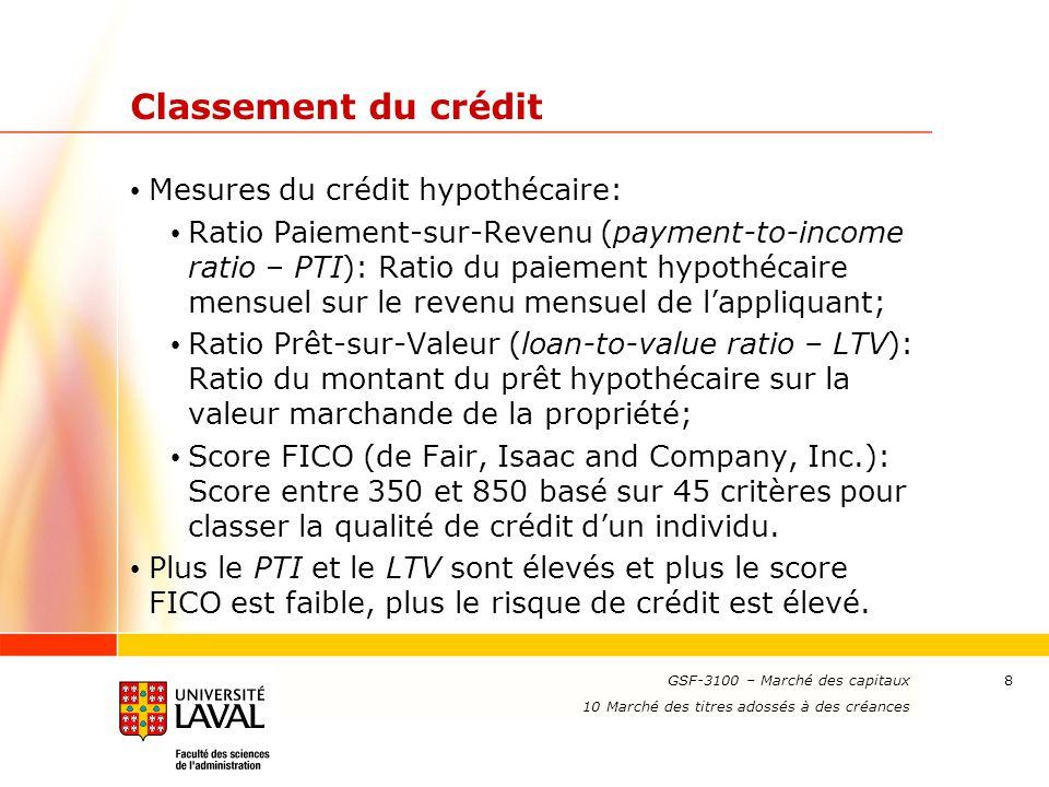 www.ulaval.ca 9 Classement du crédit (suite) Hypothèque à haut risque (subprime mortgate): Une hypothèque ne remplissant généralement pas au moins une des conditions de qualité suivantes: Un PTI inférieur à 28 %; Un LTV inférieur à 95 %; Un score FICO supérieur à 660.