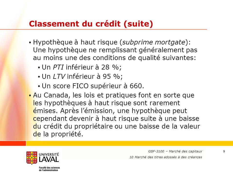 www.ulaval.ca 9 Classement du crédit (suite) Hypothèque à haut risque (subprime mortgate): Une hypothèque ne remplissant généralement pas au moins une