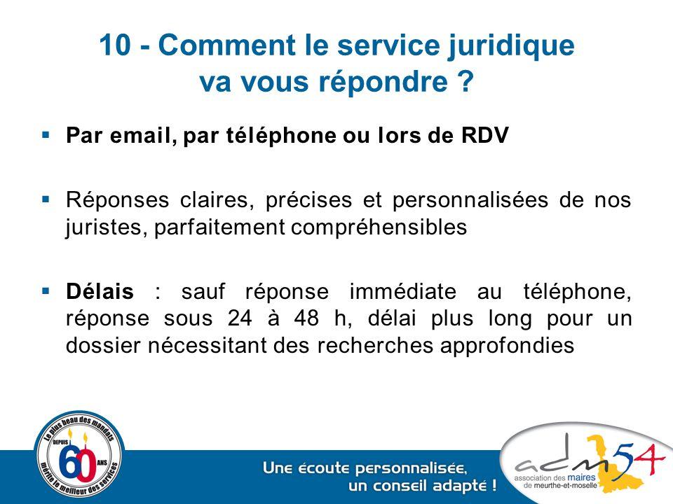 10 - Comment le service juridique va vous répondre ?  Par email, par téléphone ou lors de RDV  Réponses claires, précises et personnalisées de nos j