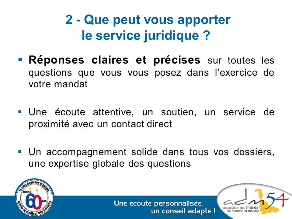 2 - Que peut vous apporter le service juridique ?  Réponses claires et précises sur toutes les questions que vous vous posez dans l'exercice de votre