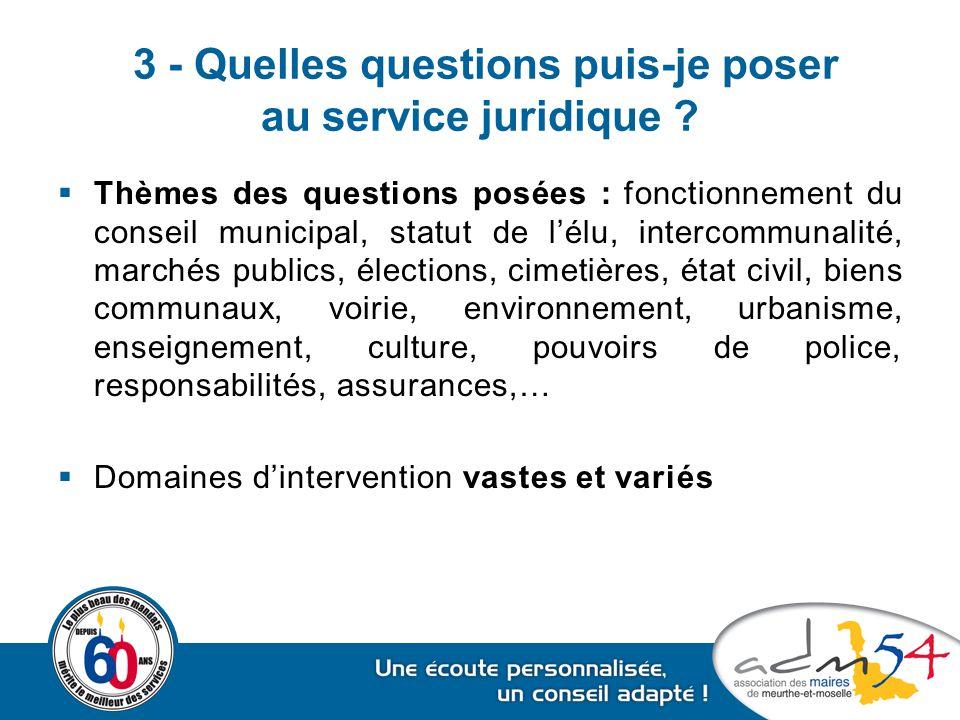 3 - Quelles questions puis-je poser au service juridique ?  Thèmes des questions posées : fonctionnement du conseil municipal, statut de l'élu, inter