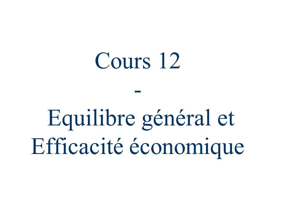 Cours 122 Points à aborder n Equilibre général : définition n Efficience des échanges : boîte d'Edgeworth n Efficience et Equité n Efficience de la production n Imperfections de marché