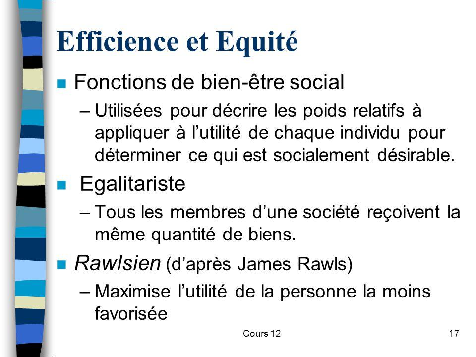 Cours 1217 Efficience et Equité n Fonctions de bien-être social –Utilisées pour décrire les poids relatifs à appliquer à l'utilité de chaque individu