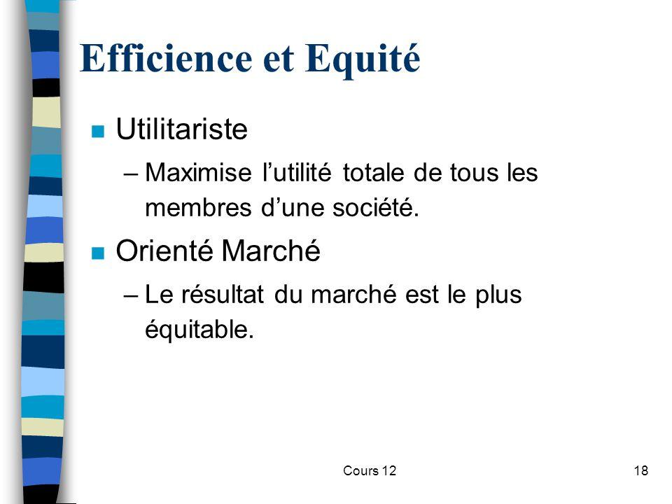 Cours 1218 Efficience et Equité n Utilitariste –Maximise l'utilité totale de tous les membres d'une société. n Orienté Marché –Le résultat du marché e
