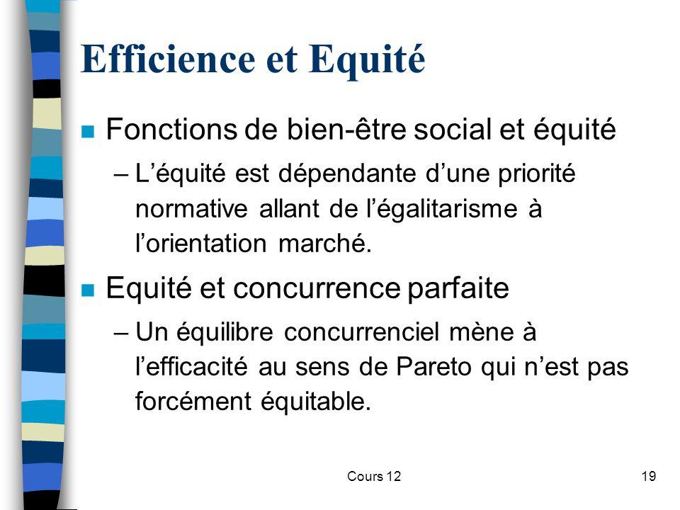 Cours 1219 Efficience et Equité n Fonctions de bien-être social et équité –L'équité est dépendante d'une priorité normative allant de l'égalitarisme à