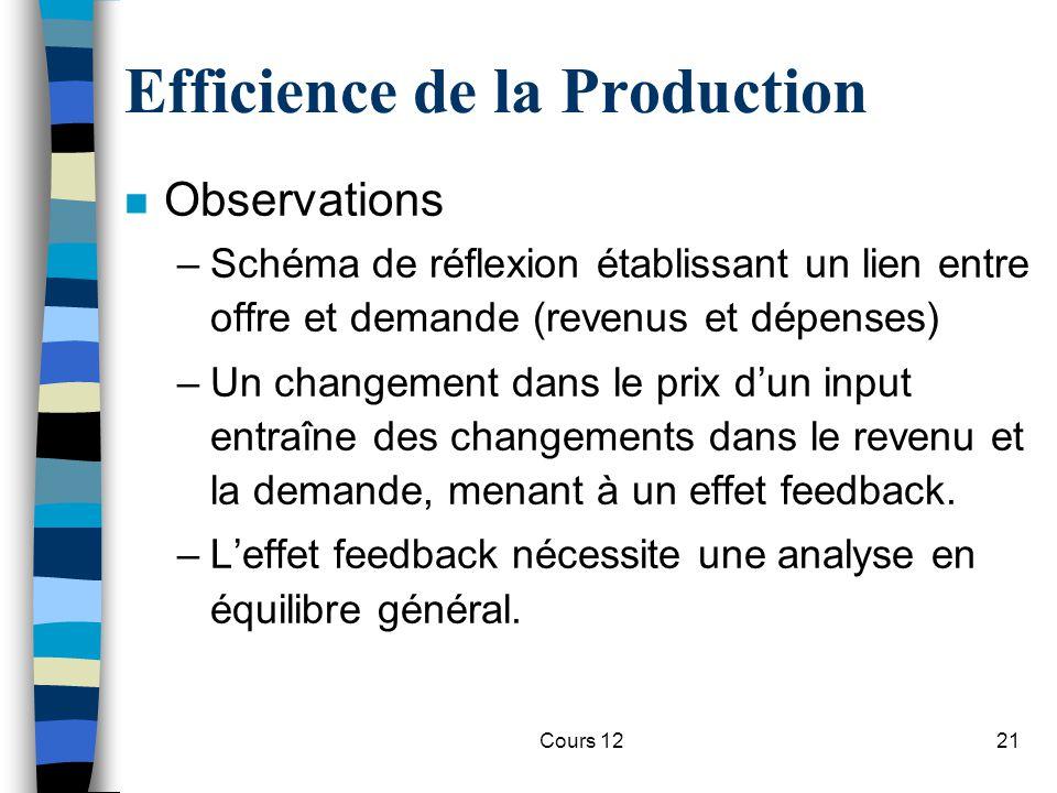 Cours 1221 Efficience de la Production n Observations –Schéma de réflexion établissant un lien entre offre et demande (revenus et dépenses) –Un change