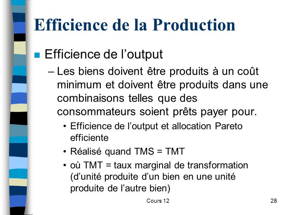 Cours 1228 Efficience de la Production n Efficience de l'output –Les biens doivent être produits à un coût minimum et doivent être produits dans une c