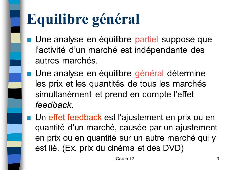 Cours 123 Equilibre général n Une analyse en équilibre partiel suppose que l'activité d'un marché est indépendante des autres marchés. n Une analyse e