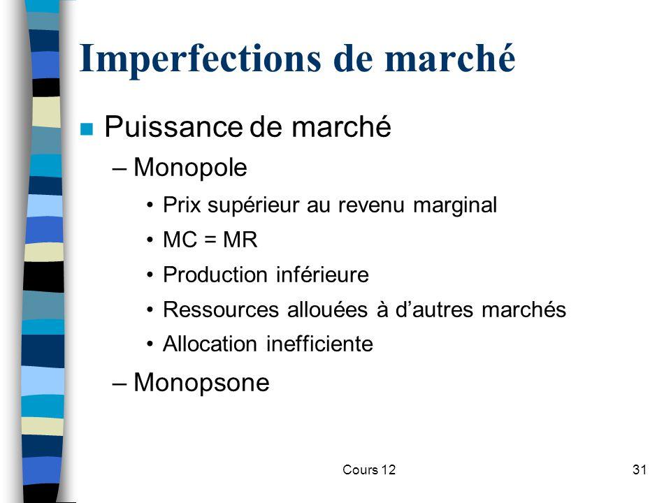 Cours 1231 Imperfections de marché n Puissance de marché –Monopole Prix supérieur au revenu marginal MC = MR Production inférieure Ressources allouées
