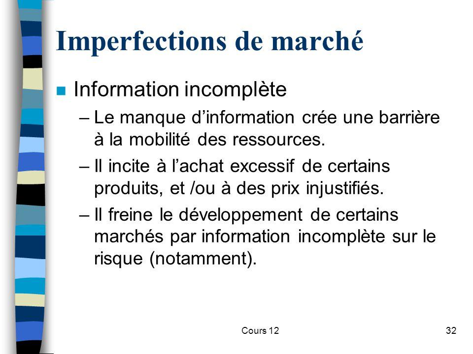 Cours 1232 Imperfections de marché n Information incomplète –Le manque d'information crée une barrière à la mobilité des ressources. –Il incite à l'ac