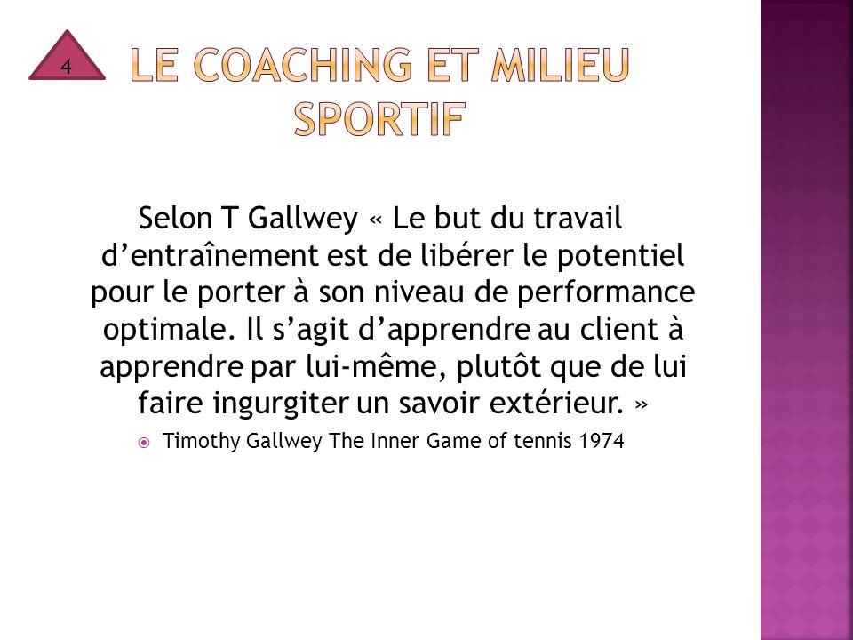 Selon T Gallwey « Le but du travail d'entraînement est de libérer le potentiel pour le porter à son niveau de performance optimale. Il s'agit d'appren