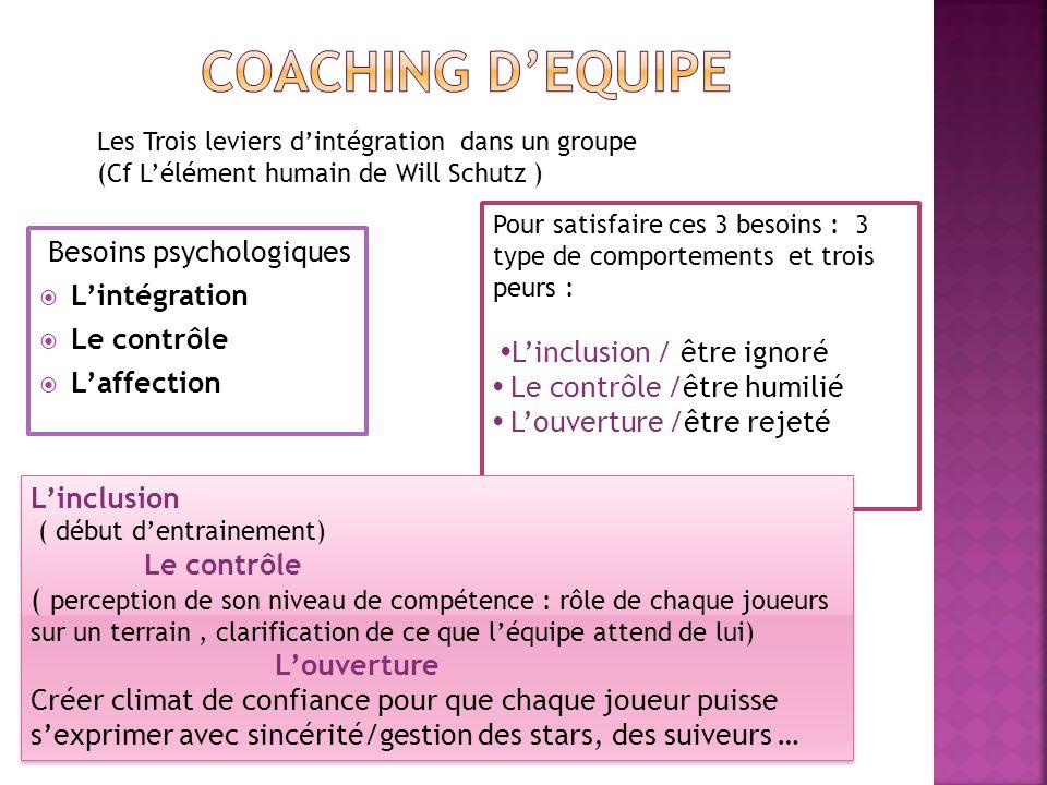 Besoins psychologiques  L'intégration  Le contrôle  L'affection Pour satisfaire ces 3 besoins : 3 type de comportements et trois peurs : L'inclusio