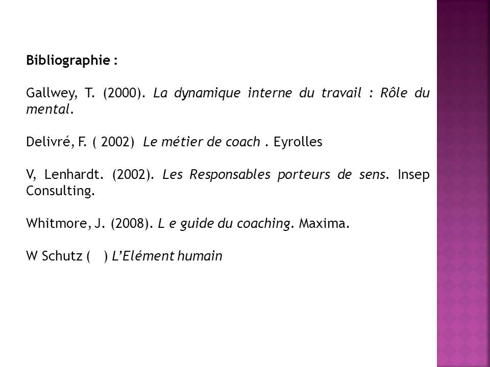 Bibliographie : Gallwey, T. (2000). La dynamique interne du travail : Rôle du mental. Delivré, F. ( 2002) Le métier de coach. Eyrolles V, Lenhardt. (2