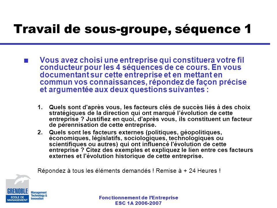 Fonctionnement de l'Entreprise ESC 1A 2006-2007 Travail de sous-groupe, séquence 1 Vous avez choisi une entreprise qui constituera votre fil conducteur pour les 4 séquences de ce cours.
