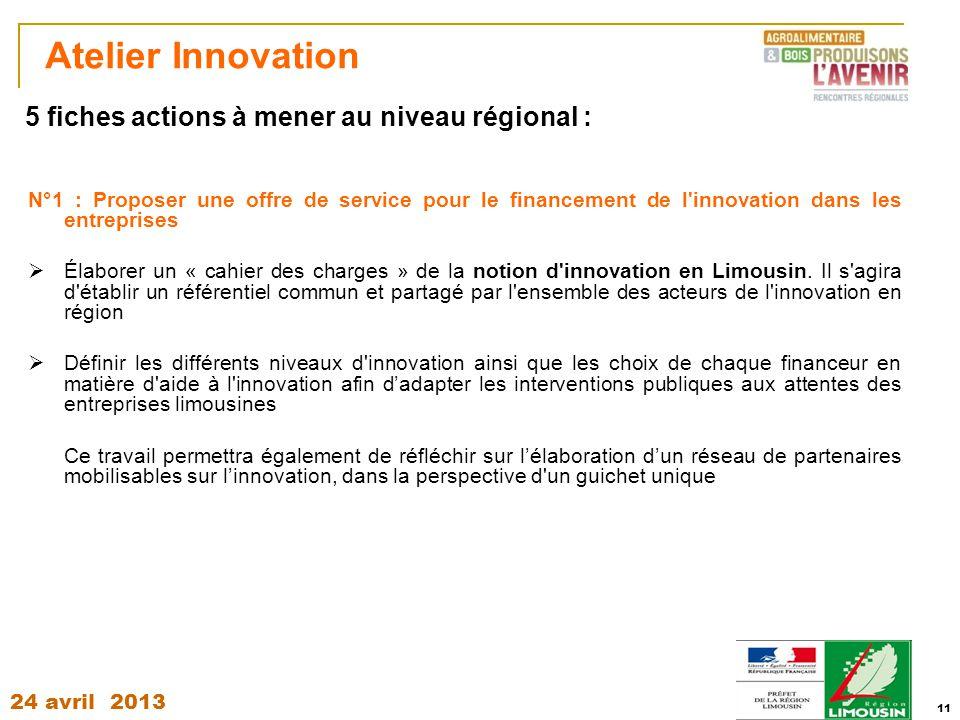 24 avril 2013 11 Atelier Innovation N°1 : Proposer une offre de service pour le financement de l'innovation dans les entreprises  Élaborer un « cahie