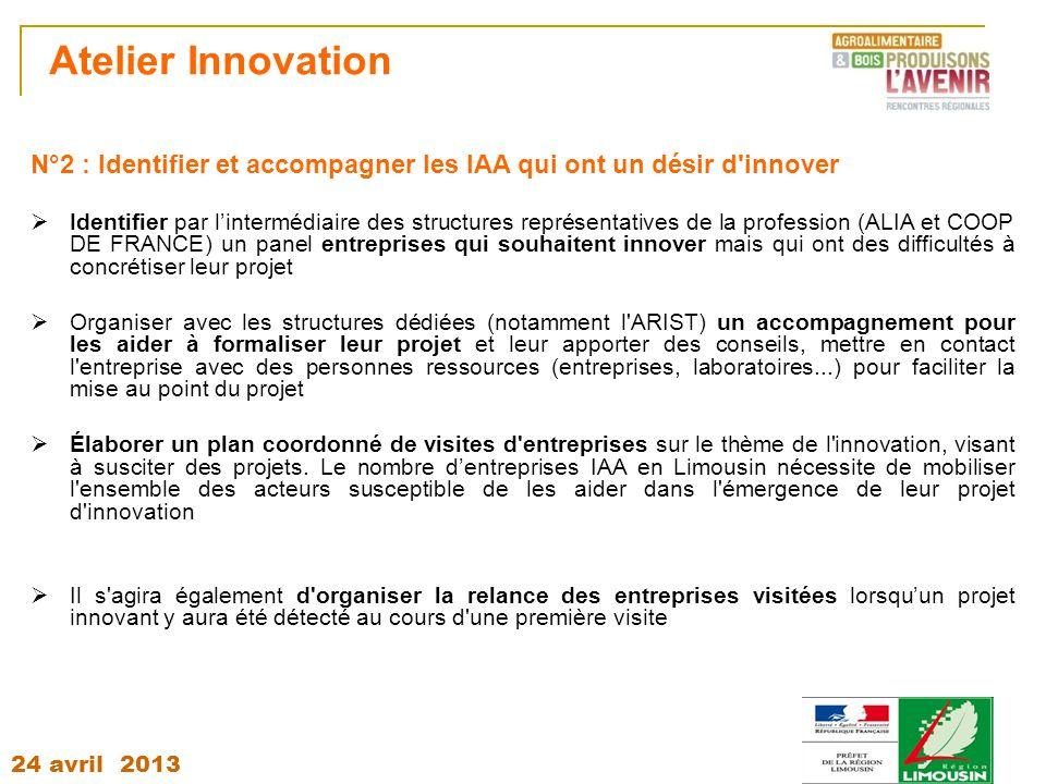 24 avril 2013 Atelier Innovation N°2 : Identifier et accompagner les IAA qui ont un désir d'innover  Identifier par l'intermédiaire des structures re