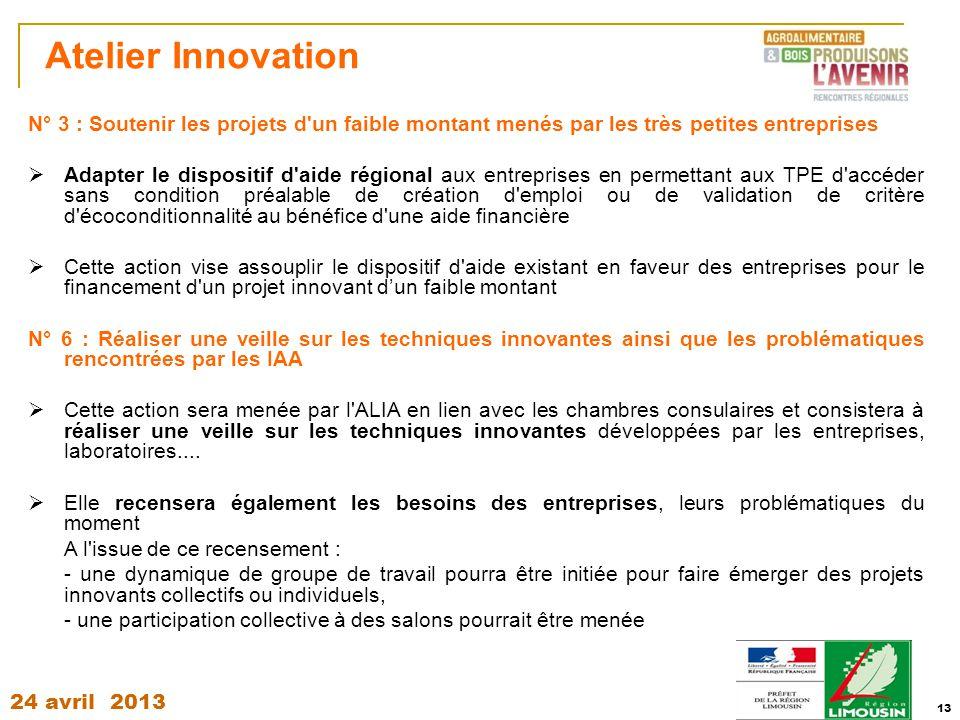 24 avril 2013 13 Atelier Innovation N° 3 : Soutenir les projets d'un faible montant menés par les très petites entreprises  Adapter le dispositif d'a
