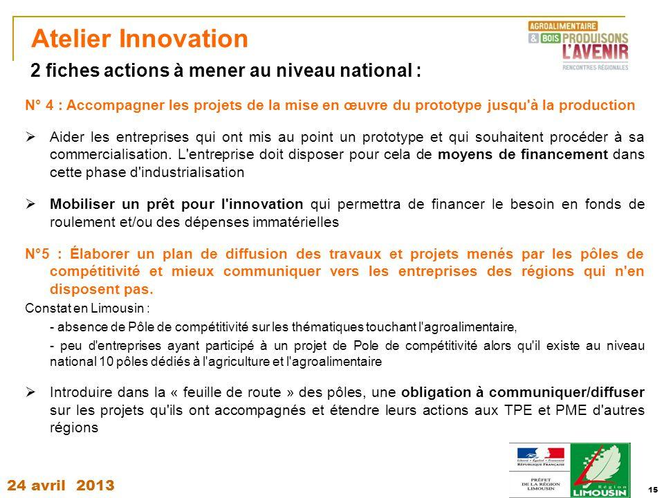 24 avril 2013 15 Atelier Innovation N° 4 : Accompagner les projets de la mise en œuvre du prototype jusqu'à la production  Aider les entreprises qui