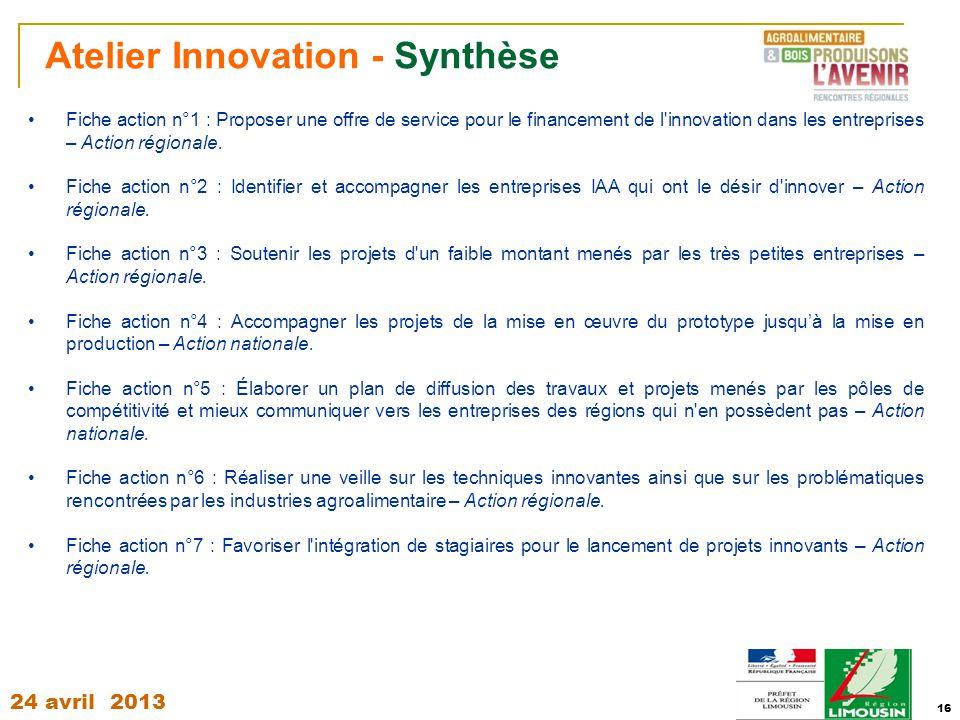 24 avril 2013 16 Atelier Innovation - Synthèse Fiche action n°1 : Proposer une offre de service pour le financement de l'innovation dans les entrepris