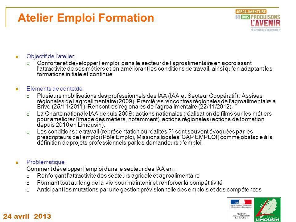 24 avril 2013 Atelier Emploi Formation Objectif de l'atelier:  Conforter et développer l'emploi, dans le secteur de l'agroalimentaire en accroissant