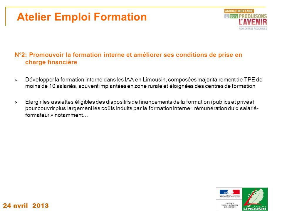 24 avril 2013 Atelier Emploi Formation N°2: Promouvoir la formation interne et améliorer ses conditions de prise en charge financière  Développer la