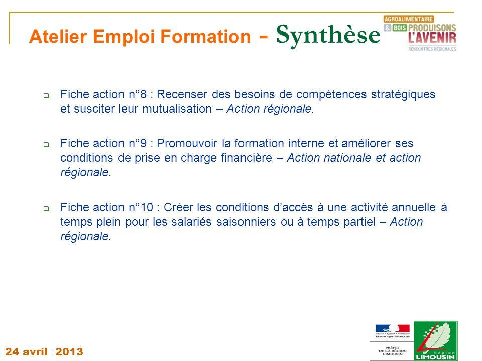 24 avril 2013 Atelier Emploi Formation - Synthèse  Fiche action n°8 : Recenser des besoins de compétences stratégiques et susciter leur mutualisation