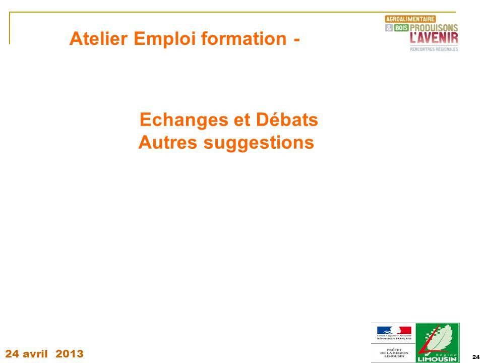 24 avril 2013 24 Echanges et Débats Autres suggestions Atelier Emploi formation -