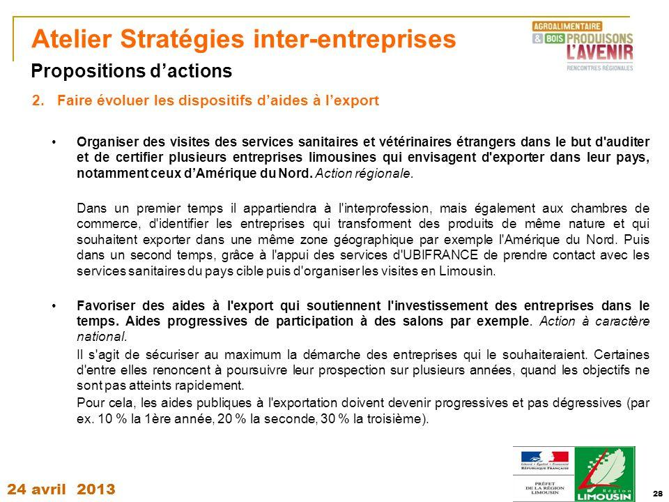 24 avril 2013 28 Atelier Stratégies inter-entreprises 2.Faire évoluer les dispositifs d'aides à l'export Organiser des visites des services sanitaires